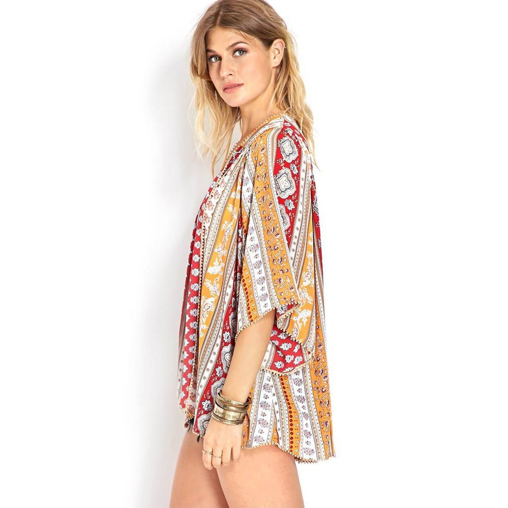 Women Tops And Blouses 2018 Fashion V Neck Floral Print Batwing Sleeve Chiffon
