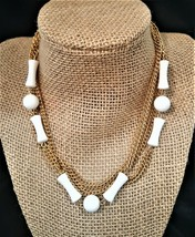 Vintage Long Gold Plated White Plastic Beads Necklace - $6.00