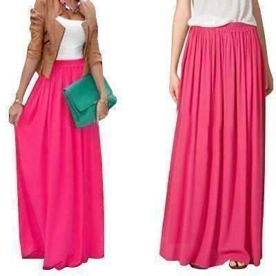 S maxi skirts rose red medium candy color elegant pleated women chiffon maxi skirt 1416973975583