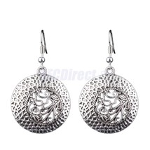 Women Vintage Bohemian Style Ethnic Carved Vine Flower Silver Hoop Earri... - $15.00