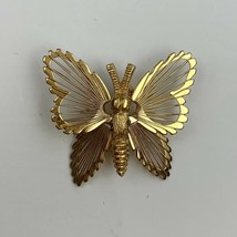 Vintage Small Monet Butterfly Brooch Scatter Pin Gold Tone Filigree Open... - $11.84