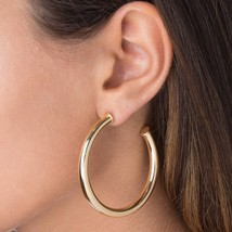 6*45MM smooth Hollow hoop earring gold silver colors classic european women Big  - $15.78