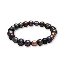 Dyed-black Baroque Cultured Pearl Stretch Bracelet 5-7mm - $25.37