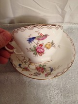 Adderley England hand painted floral with bird tea cup and saucer  - $10.40