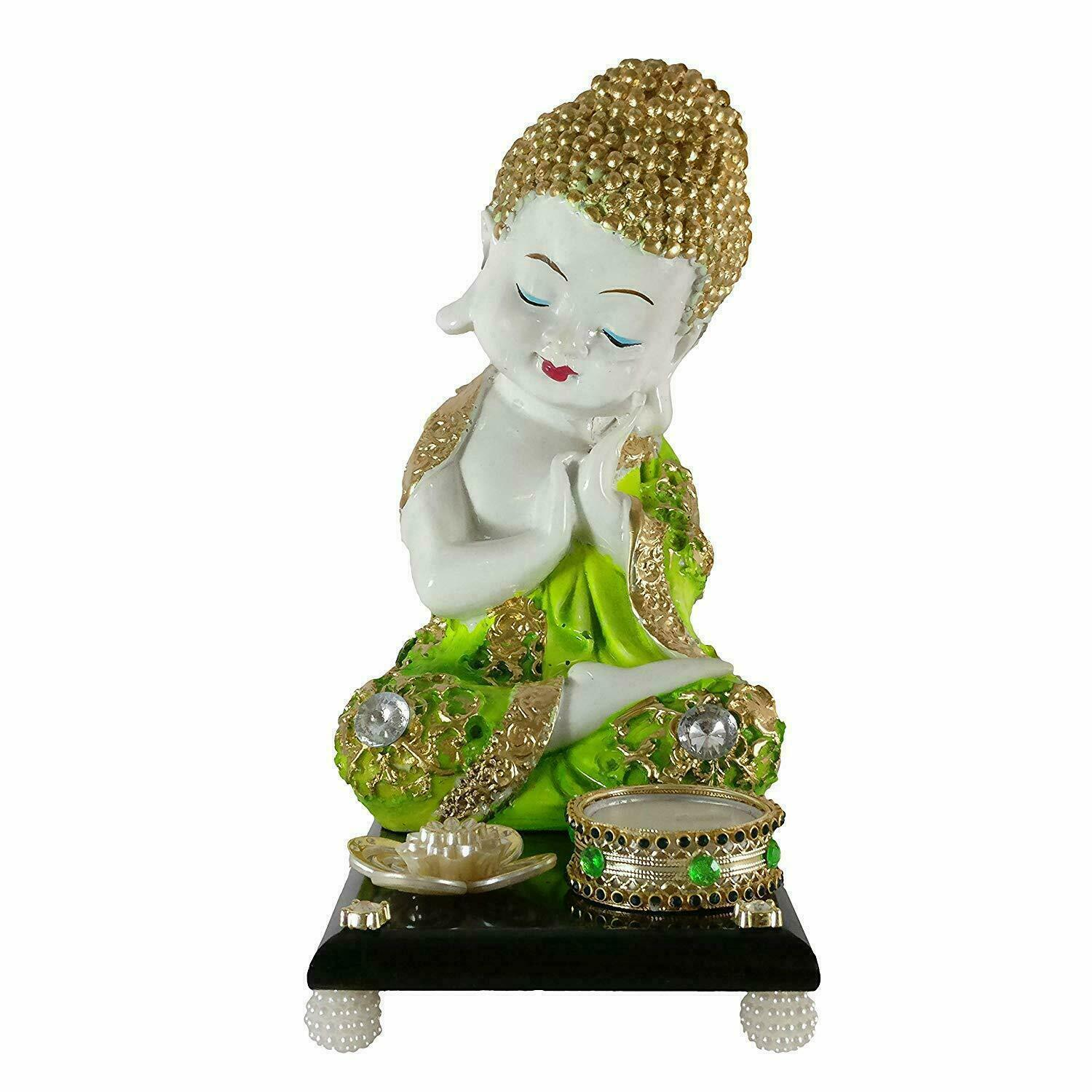 Sacred Blessings Baby Buddha Statue on Wooden Platform 22 cm(H) X 17.5 cm(L) *us