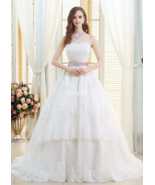Gorgeous Tulle Strapless Neckline Ball Gown Wedding Dresses With Lace Ap... - $495.00