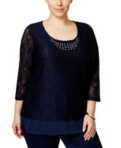 NWT-JM Collection ~Size 1X~ Plus Size Embellished Crocheted Tunic Top Bl... - $30.99