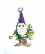 Hand Painted Little Gnome Charm For Bracelet or Pendant - Purple Hat Gnome - $15.49