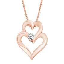 Double Heart Pendant 18k Black Gold Finish Whi... - $58.44