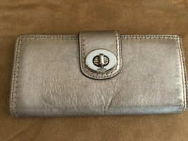 Coach wallet turnlock metallic leather envelope womens bifold - $69.50
