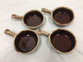 4 VINTAGE McCoy 874 BROWN DRIP ONION SOUP CHILI BOWLS OVEN PROOF - $28.04