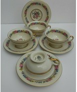 4 CASTLETON manor coffee cup saucer sets GOLD LOT  - $39.59