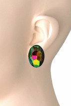 "1"" Drop Vitral Volcano Glass Crystal Clip On Earring Pageant,Drag Queen - $12.22"