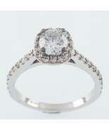14k White Gold Diamond Solitaire Ring W/ Accents TDW 1.10 ct Size 3.75 w... - $2,057.46