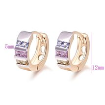 Wholesale Gold-Color Hoop Huggie Earrings For Women  Stone Crystal CC Earings Fa image 2