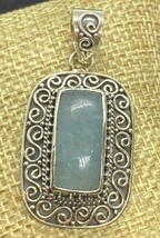 Artisan Handmade Aquamarine Pendant; Sterling Silver With Swirl Accents - $34.00