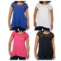 DKNY Jeans Ladies Short Sleeve Floral Lace Top Choose Size & Color - $14.99