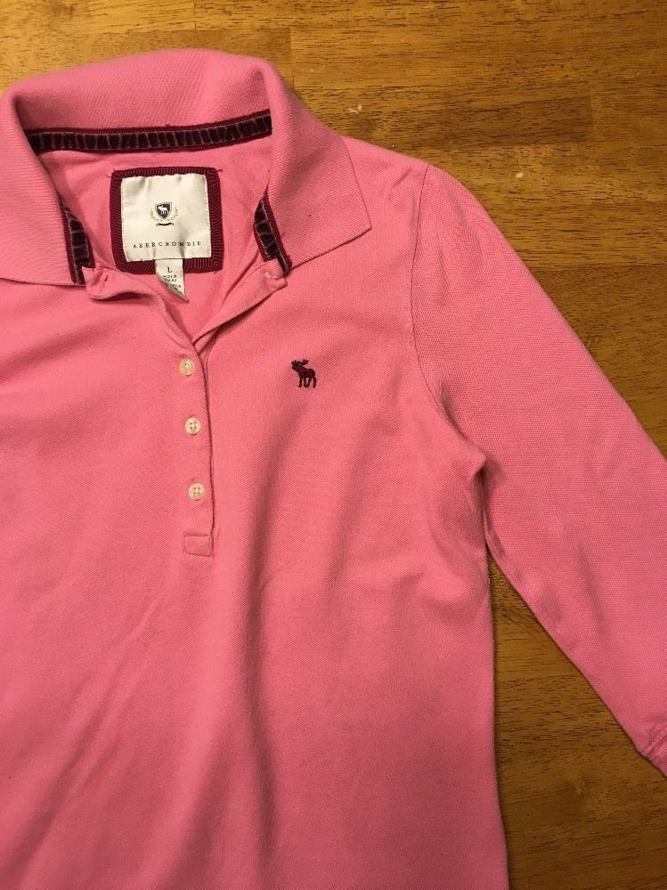 Abercrombie Girl's Pink 3/4 Sleeve Polo Shirt - Size: Large image 8