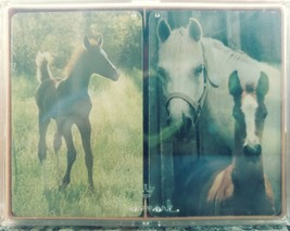 "VINTAGE Hallmark ""Free Spirit"" Horse Plastic Coated Playing Cards with Case - $5.90"
