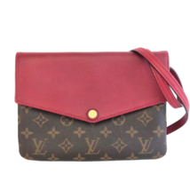 Louis Vuitton Monogram Canvas / Red Leather Twice/Twinset Crossbody Bag - $1,199.00