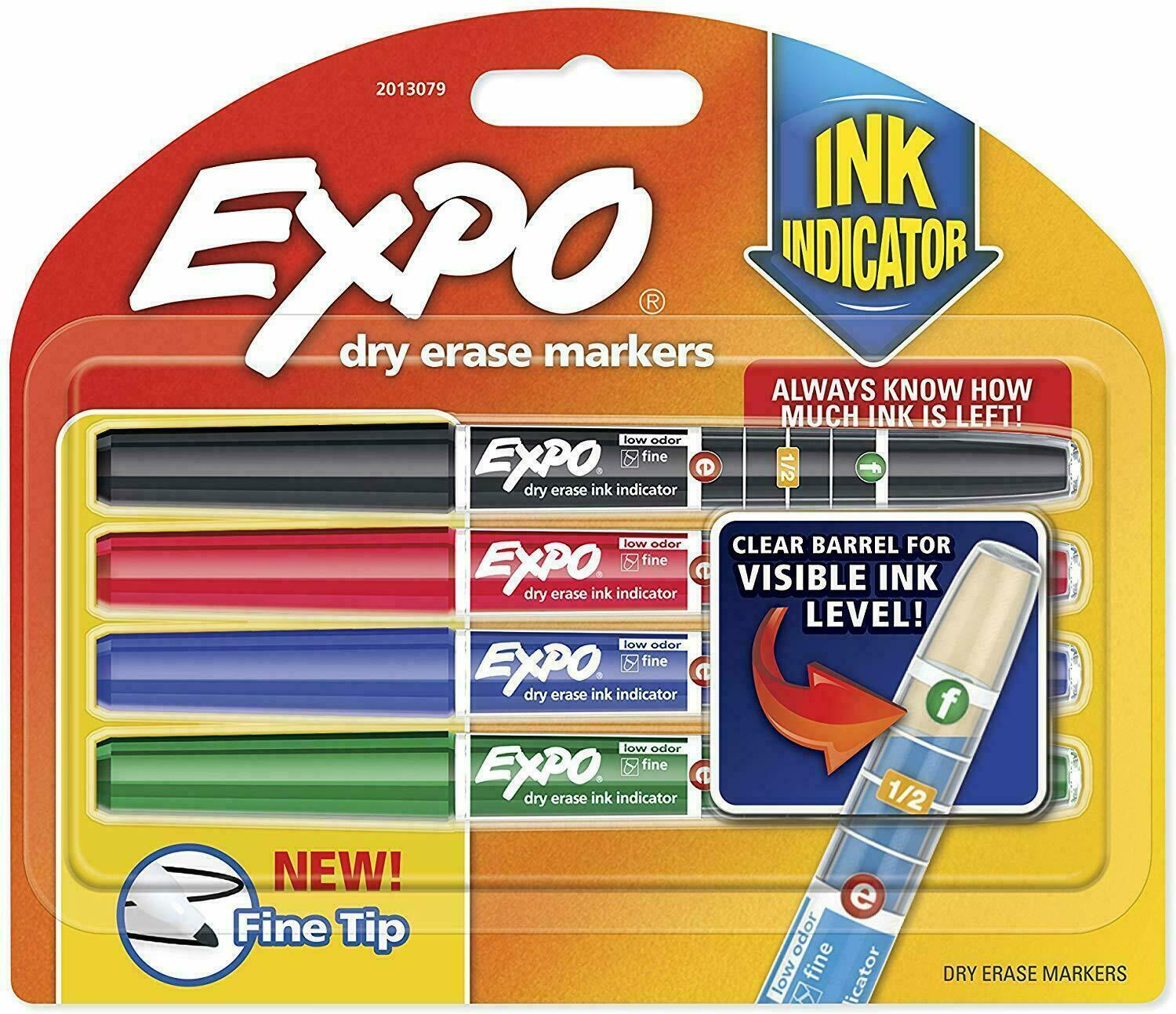 Expo Fine Tip Dry Erase Board Markers Ink Indicator 4 Pack Black Green Red Blue