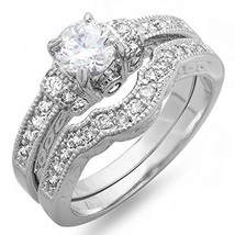 Beautiful Rd White Cut CZ Diamond 925 Sterling Silver Bridal Engagement Ring Set - $85.99