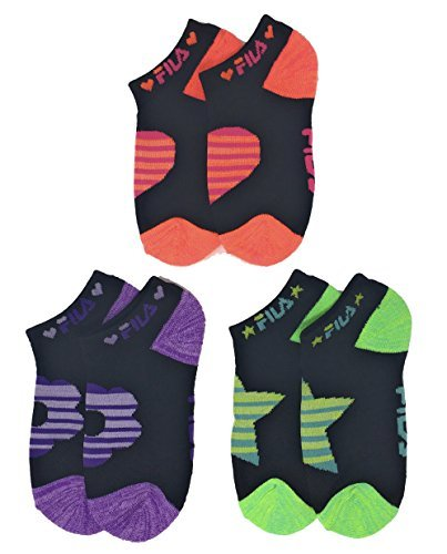 Fila Girls Cushion No Show Socks 3-Pk Assorted Colors in Black with Neon - NWT