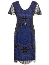 Vijiv Vintage 1920s Deco Beaded Sequin Embellished Flapper Dress With Sl... - $38.21
