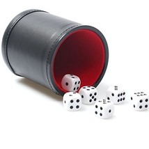 RERIVER Felt Lined Pu Leather Dice Cup Set with 6 Dot Dices Black, Pack ... - $8.38