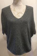 EXPRESS Women Short Sleeve Sweater Gray V Neck Dolman Oversized Pullover... - $23.99