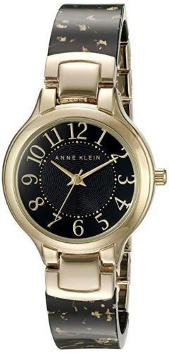Primary image for Anne Klein Women's AK/2380BKGB Easy To Read Gold-Tone Black Resin Bangle Watch