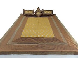 Double Bed Silk Bed Cover Brocade Design Brown Color size 90x108 Inch - $79.19