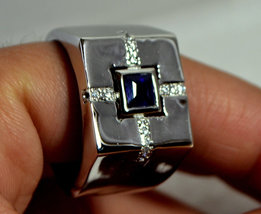 925 Sterling Silver Natural Fine Quality Blue Sapphire And Cz Gemstone Handmade  image 4