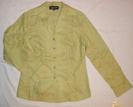 Jones New York Size 8 Green Linen Shirt Top Blazer $89 - $15.99