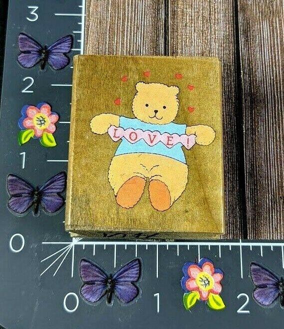 Dakin Teddy Love Bear Holding Hearts Rubber Stamp 05621 Wood #I100 - $2.48