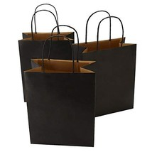 Road 8x4.75x10.5 Inches 50pcs Black Kraft Paper Bags with Handle, Small Shopping