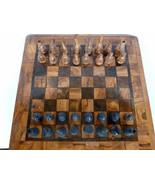 American Folk Art Handmade Wood Games Board with Chess Set circa 1940-19... - $595.00