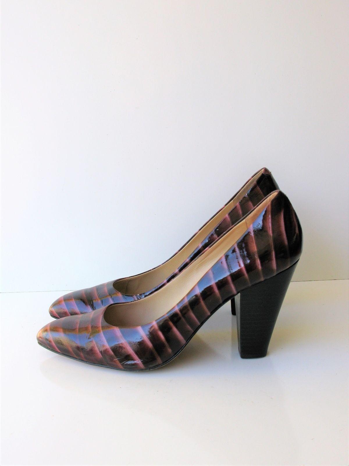 Pumps Heels Joan & David Patent Leather Reptile Print Burgundy 9.5 $225 MSRP