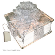 "LED Lighted Glass Block with 4"" White Border - Sheer White Silver Swirls... - $39.55"