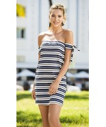 Espiral Navy Striped Ribbed Loose Fit Short Dress 4608 - $31.99