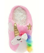 Wonder Nation Girls Slippers House Shoes Size 4/5 Rainbow Unicorn Pink NEW - £10.63 GBP