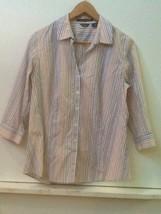 EDDIE BAUER Women's 3/4 Sleeve Button Front Stretch Shirt Wrinkle Resist... - $9.95