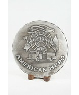 "American Forging Metal Plate ""Fire Fighter"" Hero Stand Hand Forged USA 5.5"" - £5.61 GBP"