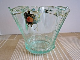 1930s Lancaster Blue Depression Glass Cable Pattern Hanky Vase Painted F... - $17.46