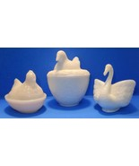VINTAGE LOT OF 3 MILK GLASS COVERED NESTING HEN AND DOVE WITH SWAN - $12.82