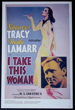 I TAKE THIS WOMAN HEDY LAMARR SPENCER TRACY + BETTIE GRABLE MOVIE AD POSTER - $12.59