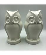 Pair of White Decorative Tabletop Owls Very Heavy Unique Décor Figurines - $39.98