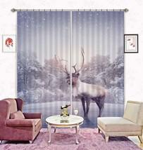 3D Elk Forest Snowing 01 Blockout Photo Curtain Print Curtains Drapes US Lemon - $177.64+