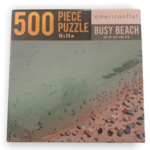 Americanflat Busy Beach 500 Piece Puzzle Art by Sisi & Seb SEALED - $11.99