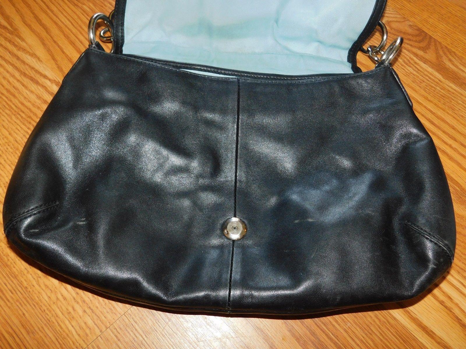 Coach Soho Black Leather Pleated Flap Bag 17217